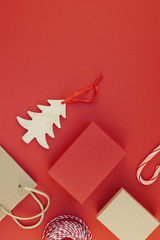 New Year or Christmas presents red background