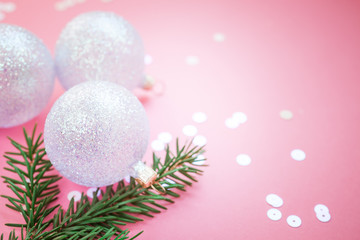 Christmas pearl decoration balls pink background