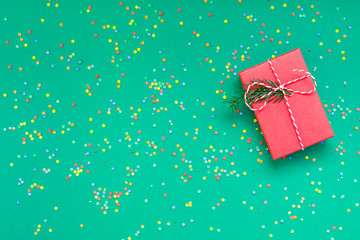 Christmas greeting card with red present box