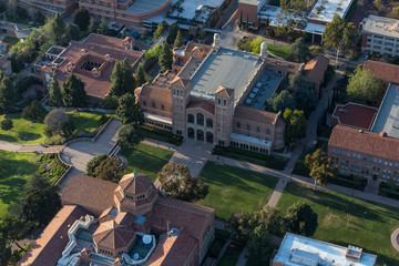 Afternoon aerial view of historic architecture on the UCLA campus near Westwood on April 18, 2018 in Los Angeles, California, USA.