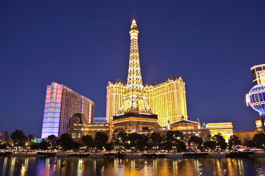 Las Vegas, Nevada, USA - October 21, 2011:  Replica of the Eiffel tower at the Paris resort on the Las Vegas strip in southern Nevada.