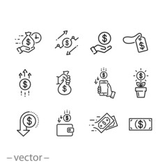 money icon set, cash payment, finance, cashback, bag money, sale and much more, thin line web symbols on white background - editable stroke vector illustration eps 10