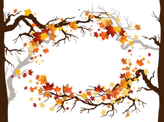 Wall Mural - Leaves and branches frame