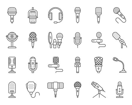 Microphone simple black line icons vector set