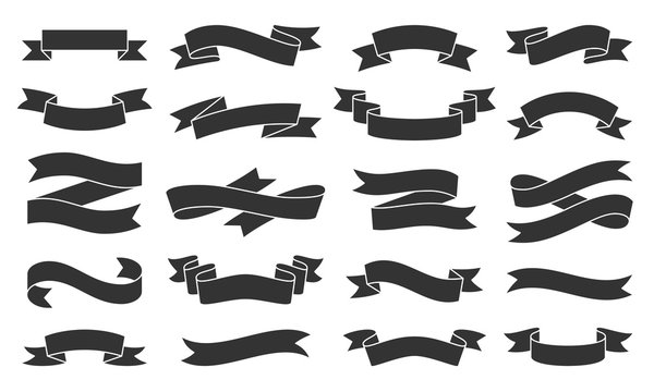 Paper Ribbon black silhouette icons vector set