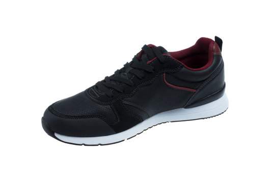 Single Sport mens Shoe in Black Leather and Dark Red, on white background
