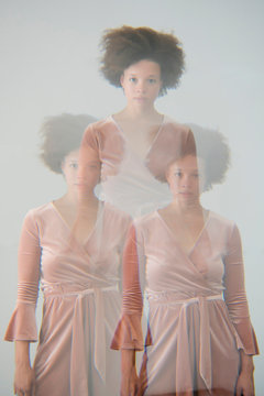Multiple exposure portrait of a woman