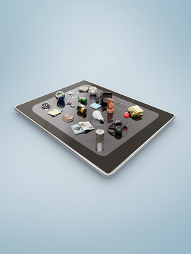 Augmented reality apps on a tablet
