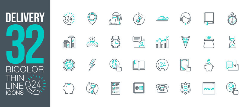 fast food delivery service outline flat icons set. Thin line design call center support 24/7 logo. icon pictogram set isolated on white. outline logo symbols for web design or mobile app communication