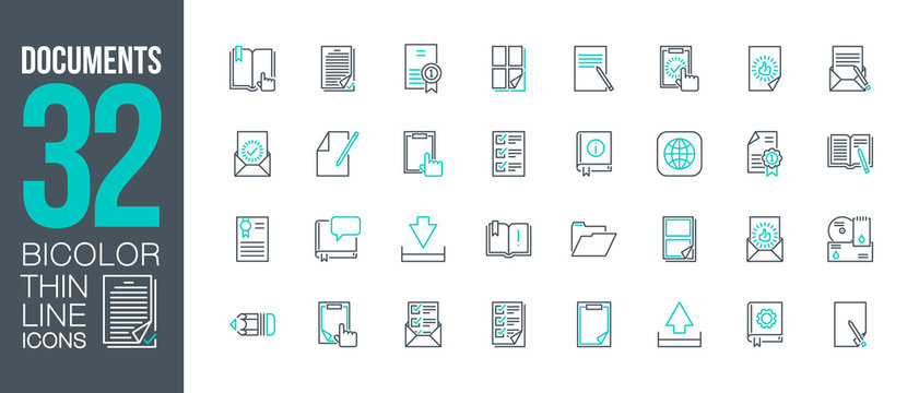 workflow at office work outline flat icons set. Thin line design logo e-mail and post mail workflow. icon pictogram set documents paper icons isolated on white. outline logo symbols for web mobile app