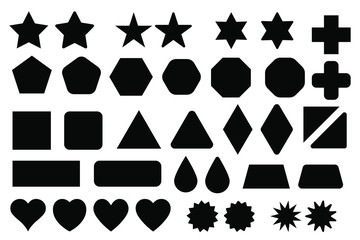 Basic shape elements with sharp and rounded edges vector set. Fototapete