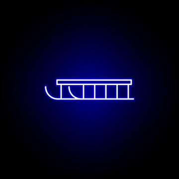 sleigh line icon in neon style. Element of winter sport illustration. Signs and symbols icon can be used for web, logo, mobile app, UI, UX