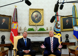 Trump meets with Romanian President Klaus Iohannis in Washington
