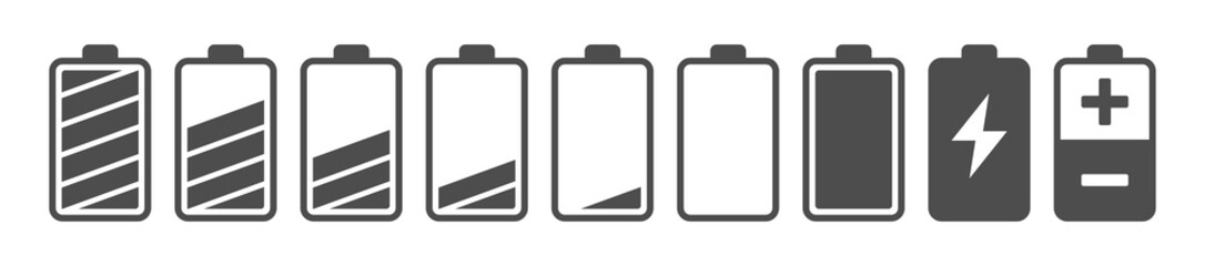 Battery capacity charge icon symbols