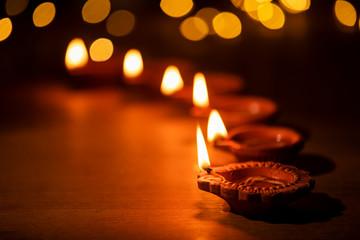 Diwali celebration with lights on Diwali day.
