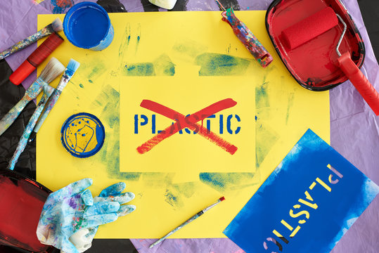 Plastic waste problem, protest sign against it