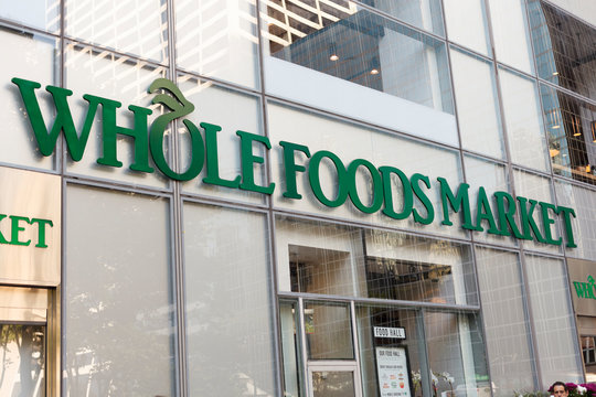 New York, New York, USA - May 30, 2018: Whole Foods Market 6th Ave. in Manhattan. Whole Foods is known for quality non-processed foods.
