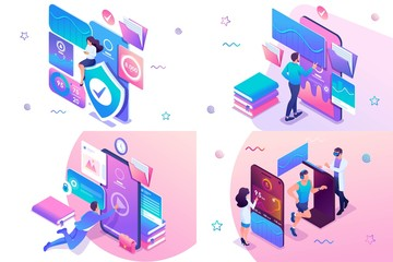 Set isometric workout concept online training, information protection, mobile application testing. For website and mobile website development Fototapete