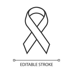 Awareness ribbon linear icon. Support fight against problem. Short piece ribbon folded in loop. Thin line illustration. Contour symbol. Vector isolated outline drawing. Editable stroke