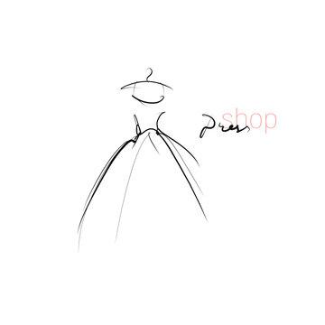 Beautiful dress, evening gown. Wedding dress. Hand drawn illustration, vector