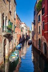 Early morning view of a quiet side canal in Venice