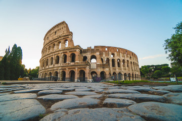 Fond de hotte en verre imprimé Rome View of the Colosseum in Rome in thea summer morning, Italy
