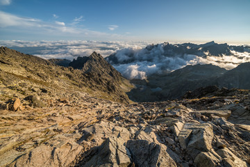 Mengusovska Valley with Inversion as Seen from Rysy Peak in High Tatras, Slovakia