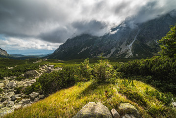 Sunlit Mountain Landscape with Clouds. Mengusovska Valley, High Tatras, Slovakia