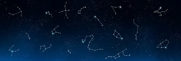 Universe background with set of famous constellations