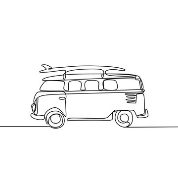 one line drawing of van with surfboard on beach minimalist vector illustration
