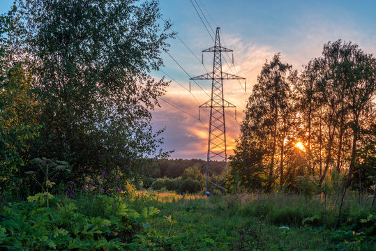 High voltage power line in forest at sunset