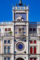 St Mark's Clock Tower - Piazza San Marco in Venice. Venice Veneto Italy