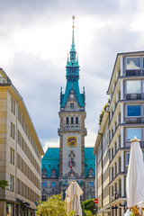 Tower of Hamburg City Hall. Situated on market square (Rathausmarkt). Is the seat of local government of the Free and Hanseatic City of Hamburg