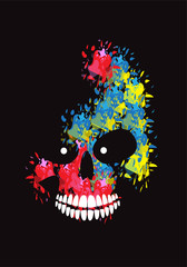 Printed roller blinds Watercolor Skull Artistic colorful skull icon background