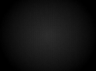 Hexagon dark background. Black honeycomb abstract metal grid pattern technology wallpaper