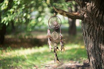 Dreamcatcher, magical spiritual Indian shaman amulet, mystical. Boho style