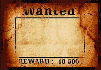 Wanted for Reward poster card. Wild West Retro Cowboy pattern template for Sheriff