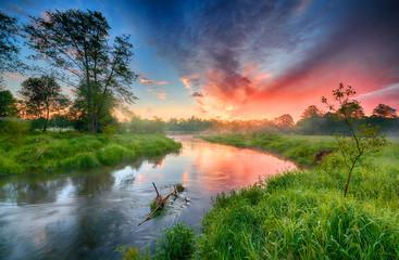 Photo sur Aluminium Rivière de la forêt Beautiful summer sunrise over river banks