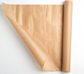 untwisted bundle of brown parchment baking paper