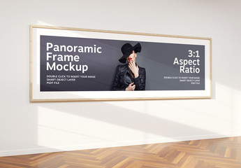 Mockup of Wide Panoramic Frame on Wall