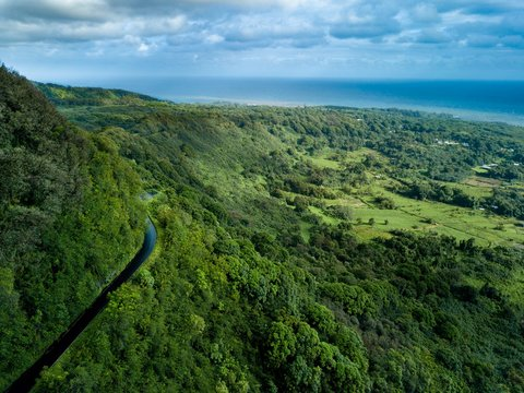 A drone birds eye aerial view of the cliff side, winding road, and coastline on the dangerous but beautiful Road to Hana on the island of Maui, Hawaii.