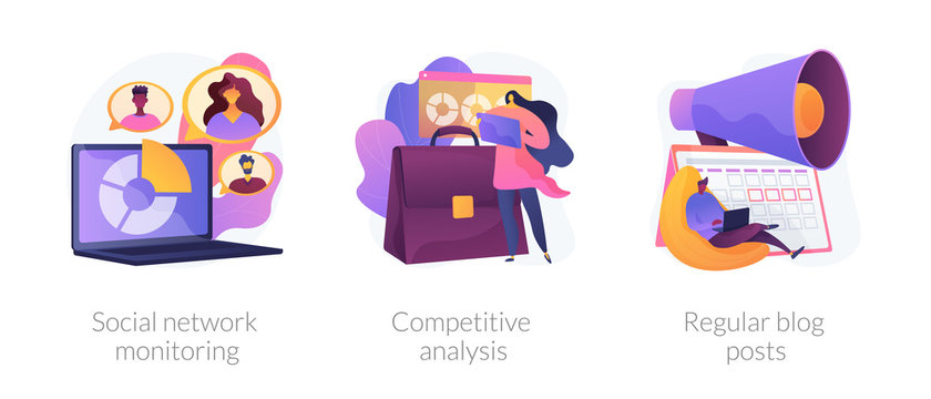 Business analytics, digital marketing icons set. Online promotion service. Social network monitoring, competitive analysis, regular blog posts metaphors. Vector isolated concept metaphor illustrations
