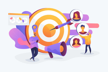 Customer attraction campaign, accurate promo, advertising business. Market segmentation, adverts, target market, target group, target customer concept. Vector isolated concept creative illustration - fototapety na wymiar