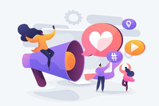 Content marketing, internet advertising business, customer attraction. Like comment share giveaway, social networks promotion, like farming concept. Vector isolated concept creative illustration