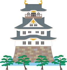 日本の城と松。ベクター素材。