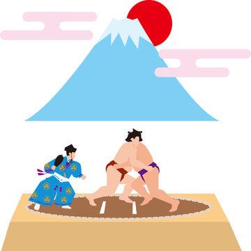 相撲と富士山。日本のイメージ。ベクター素材