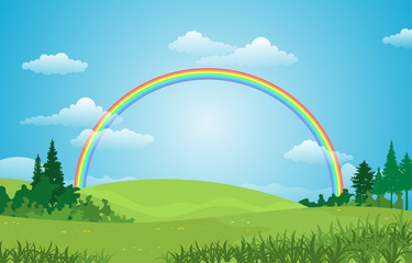 Aluminium Prints Airplanes, balloon Beautiful Rainbow Sky with Green Meadow Mountain Nature Landscape Illustration