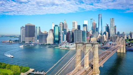 Zelfklevend Fotobehang Brooklyn Bridge Aerial shot of lower Manhattan in New York
