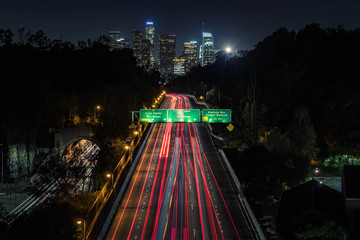 Poster Night highway Downtown Los Angeles DTLA night shot