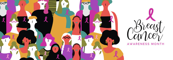 Breast Cancer awareness banner of diverse women